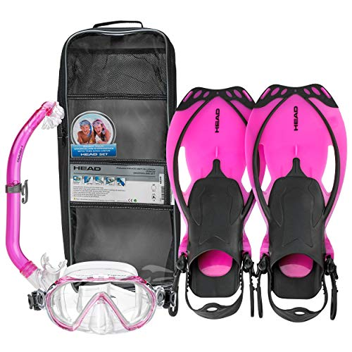 Mares Italian Collection Premium Youth Sea Pals Character Kids Mask Fin Snorkel Set Snorkeling Gear - Ultra-Clear Tempered Glass Lens Snorkeling Set (Translucent Pink, Large/1-4)