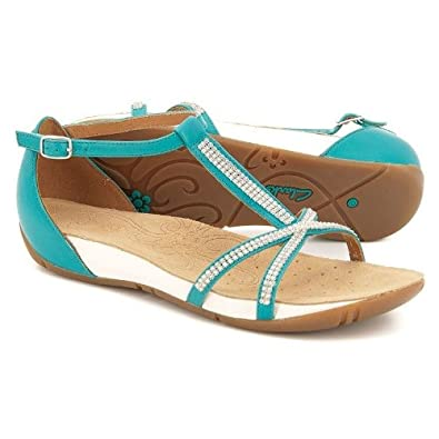 ef1885193d2 Womens Clarks Rona Sparkle Turquoise Leather Sandals 7D  Amazon.co ...