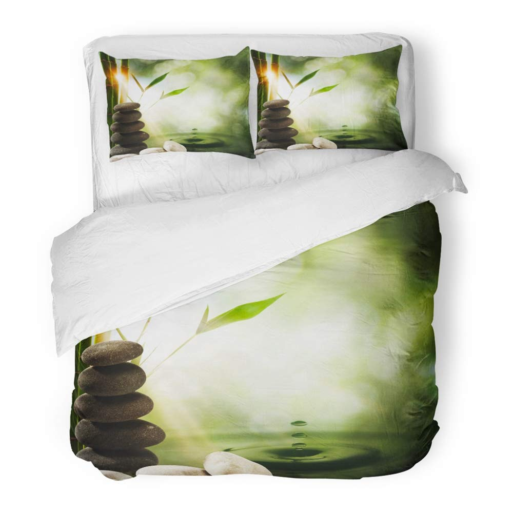 Emvency 3 Piece Duvet Cover Set Brushed Microfiber Fabric Breathable Green Nature Oriental Eco with Bamboo and Water Splash Beauty Spa Harmony Pure Bedding Set with 2 Pillow Covers Full/Queen Size