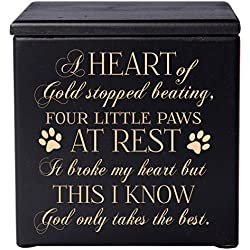 Cremation Urns for Pets SMALL Memorial Keepsake box for Dogs and Cats, Urn for pet ashes A heart of gold stopped beating four little paws at rest Holds SMALL portion of ashes (Black)