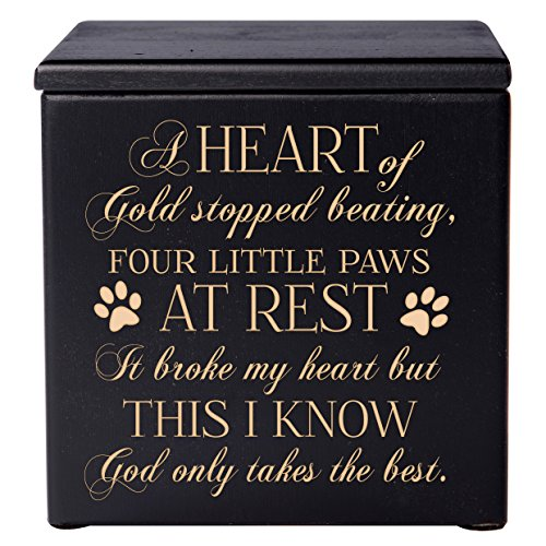 Cremation Urns for Pets SMALL Memorial Keepsake box for Dogs and Cats, Urn for pet ashes A heart of gold stopped beating four little paws at rest Holds SMALL portion of ashes (Black) by LifeSong Milestones