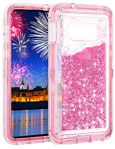 Wollony Galaxy S10E Case,Heavy Duty Liquid Glitter Quicksand Case for Samsung Galaxy S10E Full Body Shockproof Hard Bumper + Non-Slip Soft Clear Rubber Protective Cover (Pink)