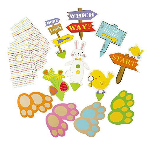 Talking Tables Easter/Spring Time Party Egg Hunt Kit Includes 6 signs, 3 Sets of Bunny Footprints and 8 Treat Bags, Multicolor