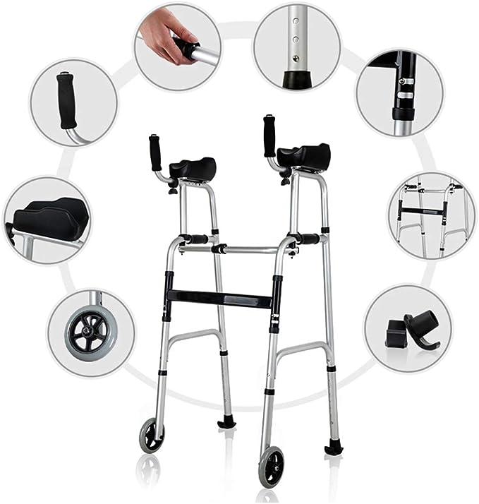 Conduzca el Andador médico de Dos Ruedas, con un Solo botón Plegable Ajuste la Altura Brazo de Agarre Suave, Peso de Carga 180 kg: Amazon.es: Hogar