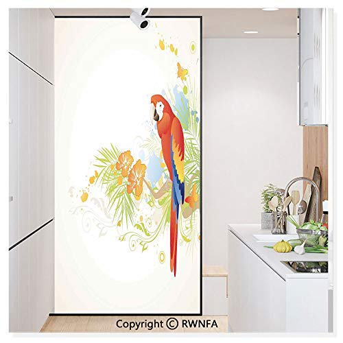 Window Privacy Film UV Blocking 11.8x59.8,Summer Background with Floral Ornaments and Wise Smart Parrot on Tree Branch Art 3D Static Self Adhesive Glass Stickers for Home & Office,Cream Red Green