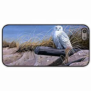 iPhone 5 5S Black Hardshell Case art owl sand logs dry grass Desin Images Protector Back Cover