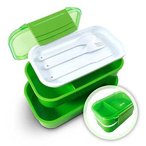 effiliv bento box lunch boxes food containers stackable green no tax free ebay. Black Bedroom Furniture Sets. Home Design Ideas