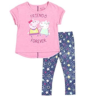 Peppa Pig Little Girls' Toddler Pullover Top and Leggings Set - Pink - 2T