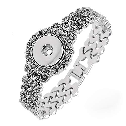 Legenstar Snap Buttons Bracelet Antique Silver Black Crystal Bangle for DIY Jewelry Making