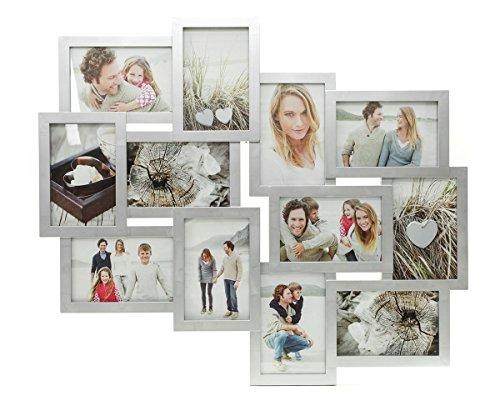 Fotocollage Bilderrahmen mit Glasscheiben für 12 Fotos Silber - Fotogalerie Fotorahmen Bilderrahmen Bildergalerie Collage Galerie - im Hochformat und Querformat