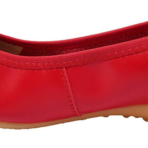 VogueZone009 Damen Rein Blend-Materialien Niedriger Rund Zehe Ziehen auf Pumps Schuhe Rot