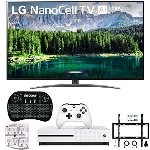 "LG 75SM8670PUA 75"" 4K HDR Smart LED IPS TV w/AI ThinQ 2019 Model with Xbox One S 1TB, Wireless Backlit Keyboard, Flat Wall Mount Kit & SurgePro 6-Outlet Surge Adapter"