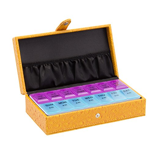 Deluxe Decorative Pillbox 7 Day Or 14 Day By Pilltime Featured On Tv Show Greys Anatomy  7 14 Day  Yellow