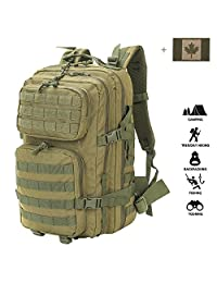 Coolton Tactical Backpack Black, Military Army Molle Backpack/Tactical Military Bag/Hiking Backpack Daypack/Bug Out Bag/Rucksack Backpack for Men 40L with Flag Patch