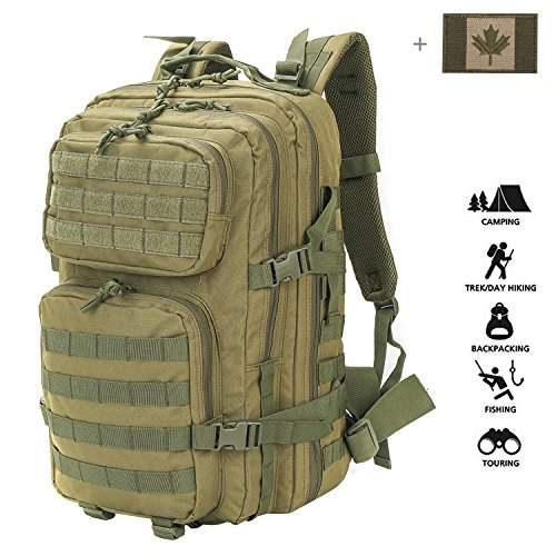 a1247d25c9e9 Coolton Military Tactical Backpack Large 3 Day Assault Pack Army Molle Bug  Out Bag Backpacks Hunting Rucksacks 40L with Flag Patch