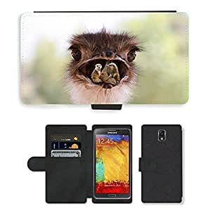 PU LEATHER case coque housse smartphone Flip bag Cover protection // M00115456 Animales Ramo At Home pájaro de la // Samsung Galaxy Note 3 III N9000 N9002 N9005