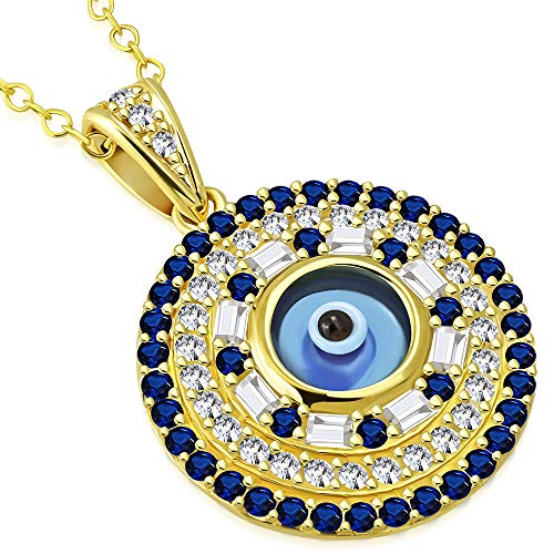 (925 Sterling Silver Yellow Gold-Tone White Blue CZ Evil Eye Pendant Necklace )
