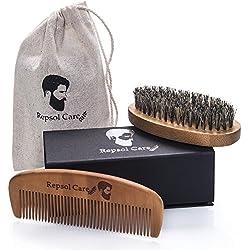 Beard Brush and Beard Comb kit for Men Grooming, Styling & Shaping - Handmade Wooden Comb and Natural Boar Bristle Beard Brush set for Men Beard & Mustache by Rapid Beard