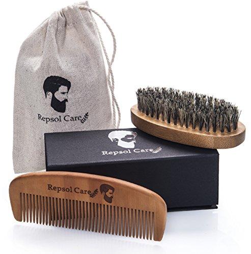 Beard Brush and Beard Comb kit for Men - Handmade Wooden Comb and Natural Boar Bristle Beard Brush set for Men Beard & Mustache by Repsol Care