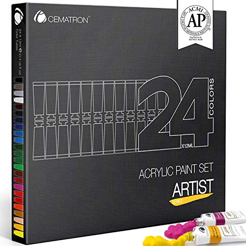 Cematron Acrylic Paint Set 24 Colors – Non Toxic Craft Paint Kit for Canvas Wood Fabric Nails and Rock Painting, Best for Professional Artists, Students or Hobbyist (Artist Grade)