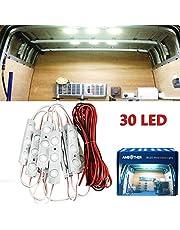 AMBOTHER 30 LED Car Interior Lights Kit LED Project Lens Lighting Lamp Work Light for Truck Car Kit Vehicle, Motorhome, Caravan, Ceiling Light, DC 12 V (White)