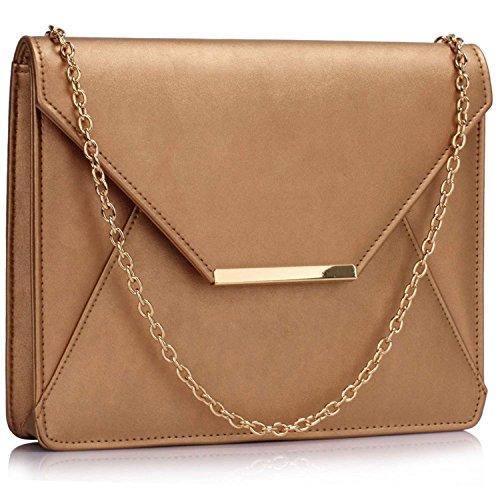 L And S Handbags - Cartera de mano para mujer dorado