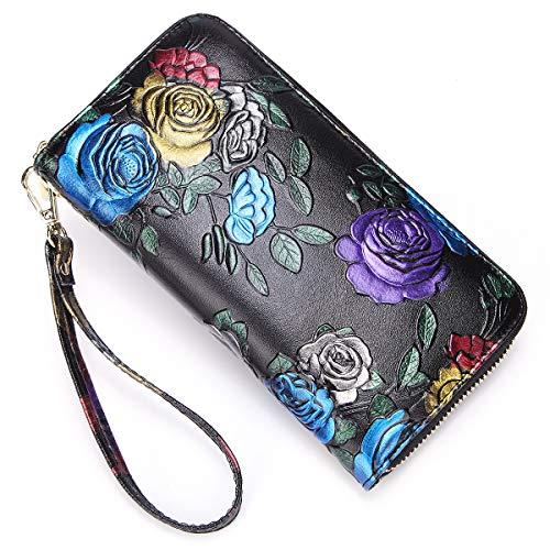 Huameibang Women's wallet Genunine leather RFID lock wallet multi-card bag wallet clutch bag wallet zipper pocket ethnic style