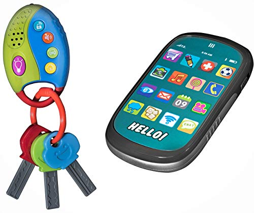 Playkidz: My First Cell Phone & Car Keys Pretend Play Set, Touch Phone, Car Keys with Remote Alarm, And Sounds, - Great Educational Toy for Fun & Learning -
