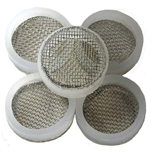 Stainless Steel Mesh Screen Filter for Iced Beverage Dispenser Replacement Spigot - 5 Pack - Easily Fits 16mm Threaded End to Filter or Strain Citrus Pulp, Tea Leaves and other Particles