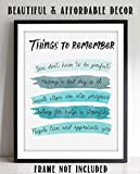 """Things To Remember To Make Life Better""- Sign Wall Art- 8 x 10"" Print Wall Decor-Ready to Frame. Watercolor Replica Print for Home-Office Decor. Great Reminders that""It's OK""."