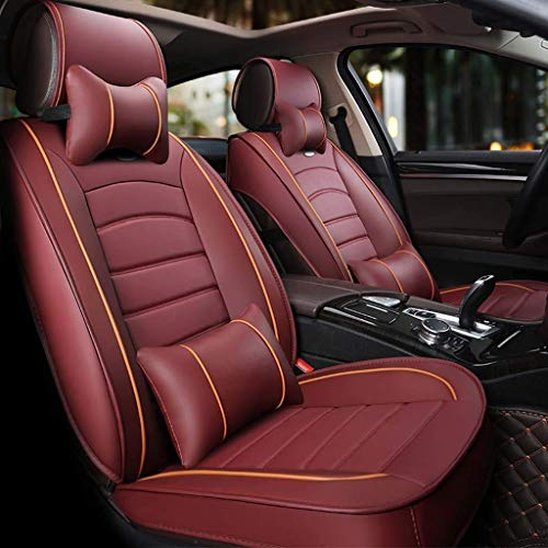 Car seat covers, set of 5 Front seats and rear seats made of universal leather, breathable with upholstery (color: red):