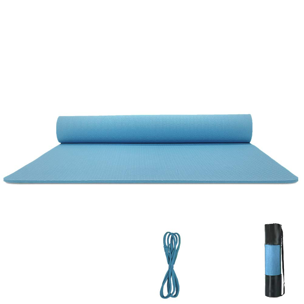 blueee 183x68x0.8cm Thick Premium Yoga Mat Solid color NonSlip Texture Pro Exercise Mat Eco Friendly PhthalateFree Fitness Mat with Carrying Strap and Bag