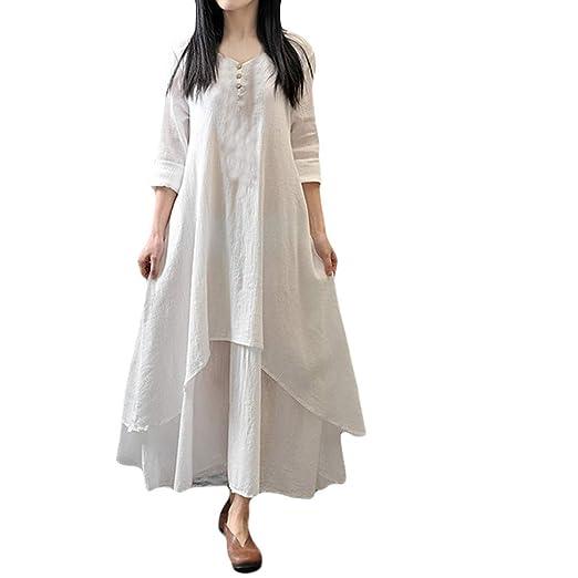 2f5190a1951 Image Unavailable. Image not available for. Color  Zainafacai Womens Casual  Boho Cotton Linen Maxi Long Dress Loose Beach Kaftan-Plus ...