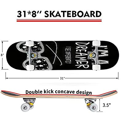 Classic Concave Skateboard Black and White Art for boy and Girl Clothes Pajamas Nightie Summer or Longboard Maple Deck Extreme Sports and Outdoors Double Kick Trick for Beginners and Professionals : Sports & Outdoors