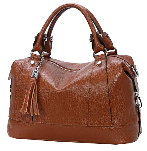 Heshe Leather Shoulder Bag Womens Tote Top Handle Handbags Cross Body Bags for Office Lady (Dark Brown)