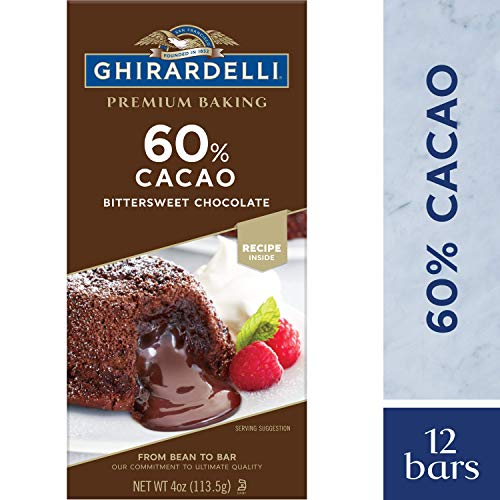 Ghirardelli Premium Baking bar, 60% Cacao Bittersweet Chocolate, 4 Oz (Pack Of 12)