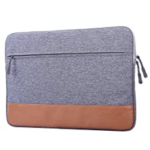 Guaiboshi 13-13.3 Inch MacBook Pro Air Waterproof Briefcase Bag, Case Cover for Dell HP Notebook Laptop, Gray with PU Edge