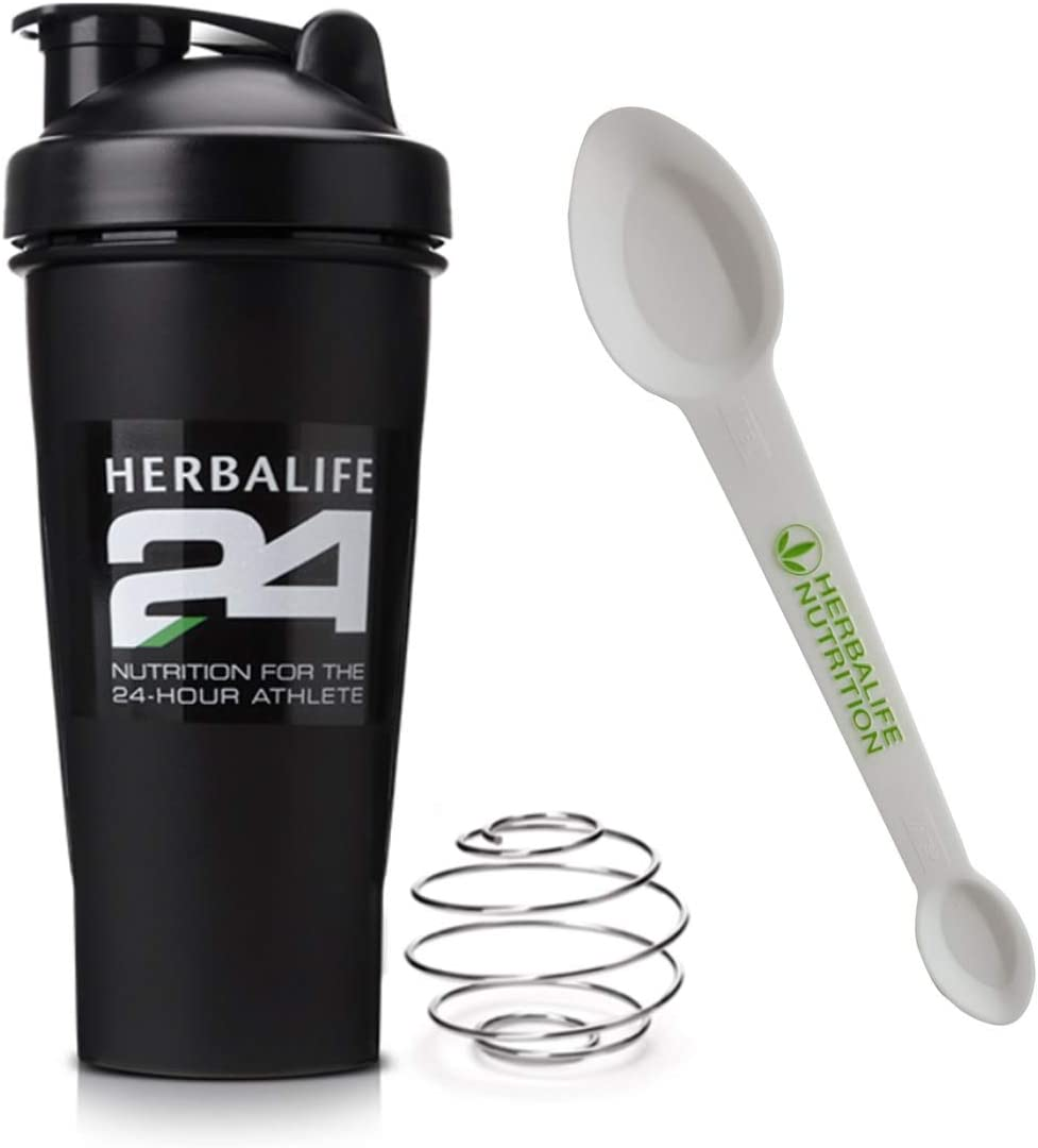 Herbalife Shaker Bottle 20.3-Ounce(600ml) Black and Herbalife Spoon 1 pack