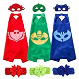 PJ Masks Costumes Set of 3 Capes and Masks with Hair Bands For Kids Catboy Owlette Gekko Dress Up