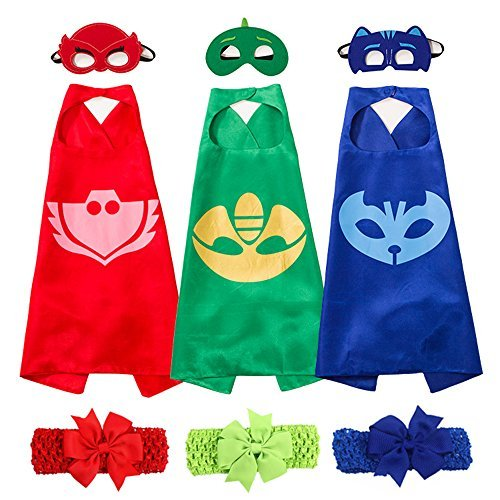 Cartoon Hero Dress Up Costumes Set of 3 Capes and Masks with Hair Bands For Kids