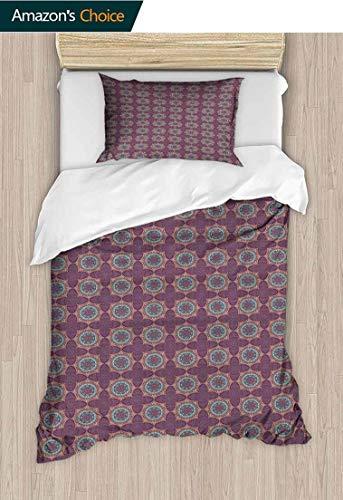PRUNUS-Home 2 PCS King Size Comforter Set,Tribal Flower Pattern with Oriental Elements Culture Motifs Arrangement with 1 Pillowcase for Kids Bedding 47