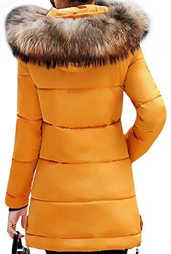 en MILEEO Fourrure Blouson Longues Hiver Jaune Manteaux Coton Veste paissi au Parka Tour Capuche Manches amp;Duvet de Fausse Femme en vwr7tw