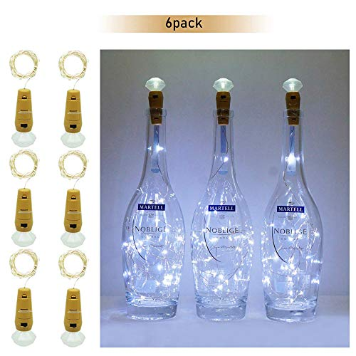 6 Pack 15 Led Wine Bottle Diamond Cork Lights, Fairy Mini Copper Bottle String Lights Battery Operated for DIY Christmas Halloween Wedding Party Indoor Outdoor Decoration, Cool White -