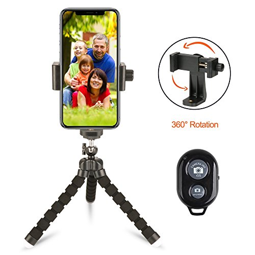 100 Vertical Stabilizer - Flexible Tripod Stand+Phone Tripod Mount+ Remote Control, Mini Tripod Smartphone Holder Adapter for iPhone X/8/7/6 plus Samsung Nexus etc