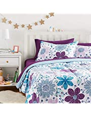 AmazonBasics Easy-Wash Microfiber Kid's Bed-in-a-Bag Bedding Set - Full / Queen, Purple Flowers