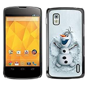 Carcasa Funda Prima Delgada SLIM Casa Case Bandera Cover Shell para LG Google Nexus 4 E960 / Business Style Snowman Funny Winter Cartoon Kids