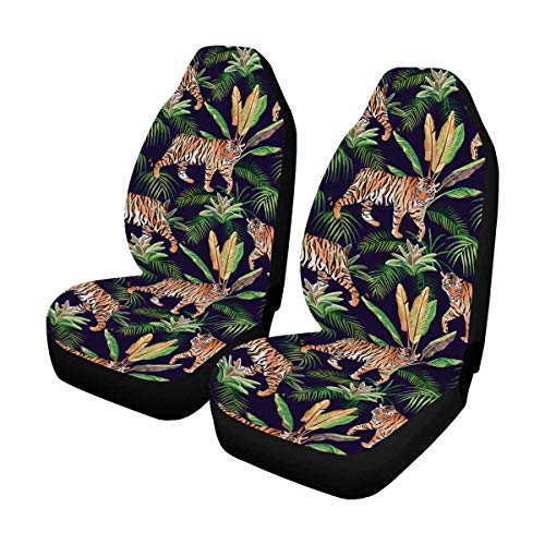INTERESTPRINT Tiger Tropical Pattern Car Seat Covers Protector Adjustable Removable Seat Cushions