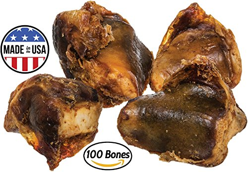 Knee Cap Bones for Dogs (100 Bones) Made in USA & Natural | Long Lasting Meaty Chews Made of Top Quality American Cattle | Single Ingredient Meat Treat, No Artificial Flavors | Supports Dental Health (Top Choice Pork)