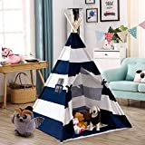 Costzon Indian Play Tent 5' Cotton Canvas Children Playhouse with Carry Bag Kids Teepee (Blue & White Stripe)