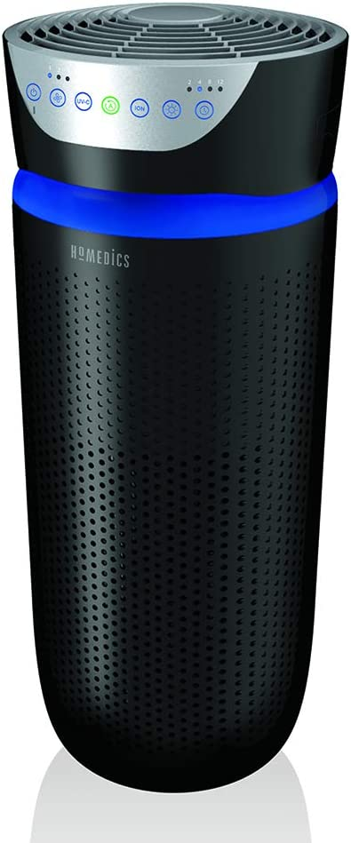 HoMedics TotalClean Tower Air Purifier for Viruses, Bacteria, Allergens, Dust, Germs, HEPA Filter, UV-C Technology, 5-in-1 Purifying with Ionizer, Carbon Odor Filter for Large Rooms, Home Office, Black